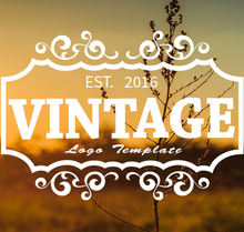 Vintage Curlz Retangle Logo PSD Template