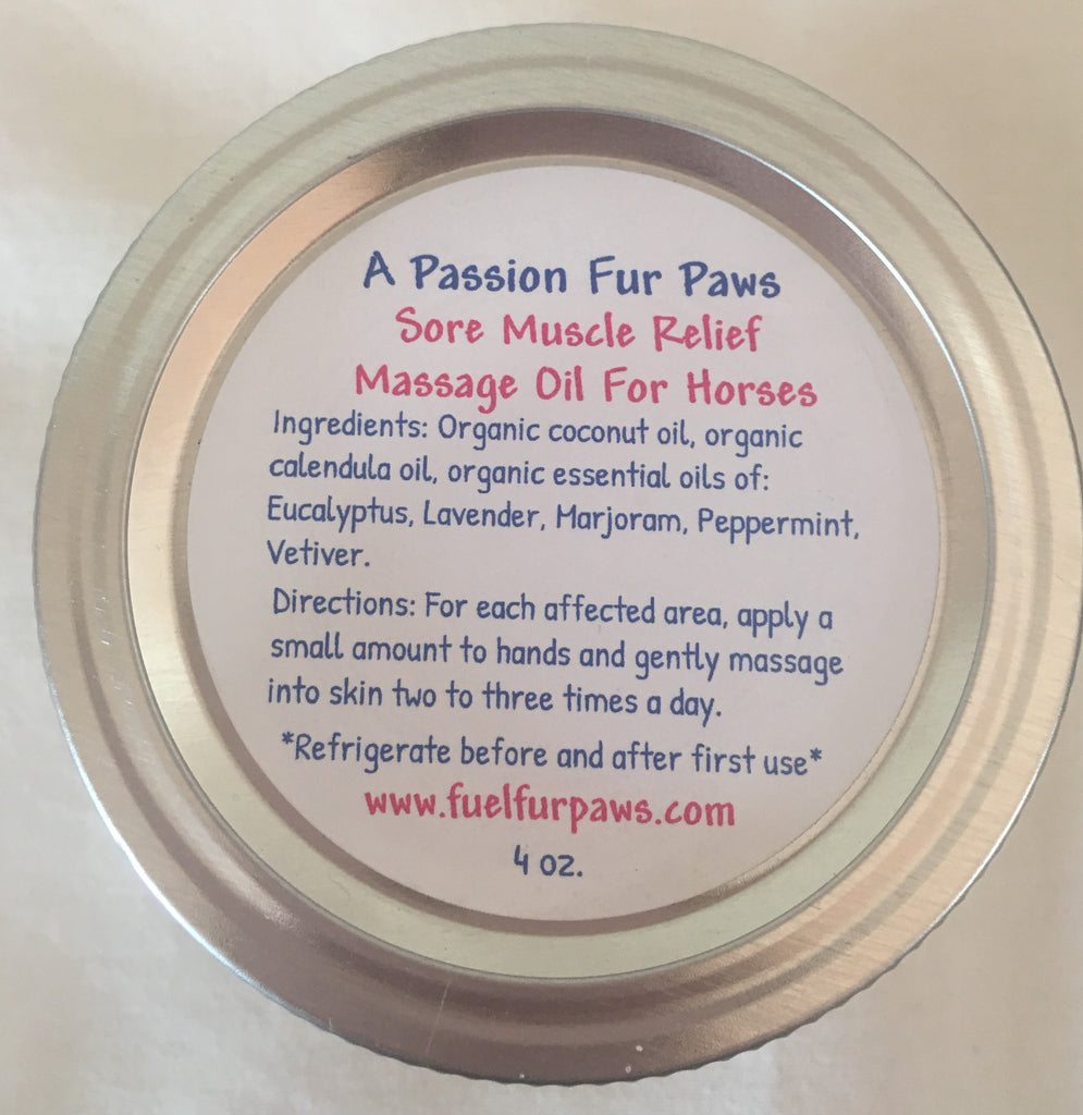Sore Muscle Relief Massage Oil For Horses - 4 oz.