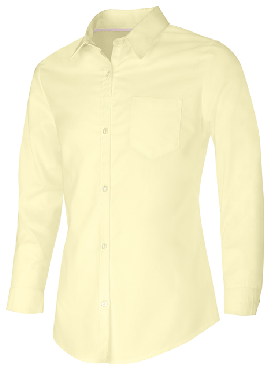 GIRLS LONG SLEEVE OXFORD SHIRT (YOUTH) - YELLOW