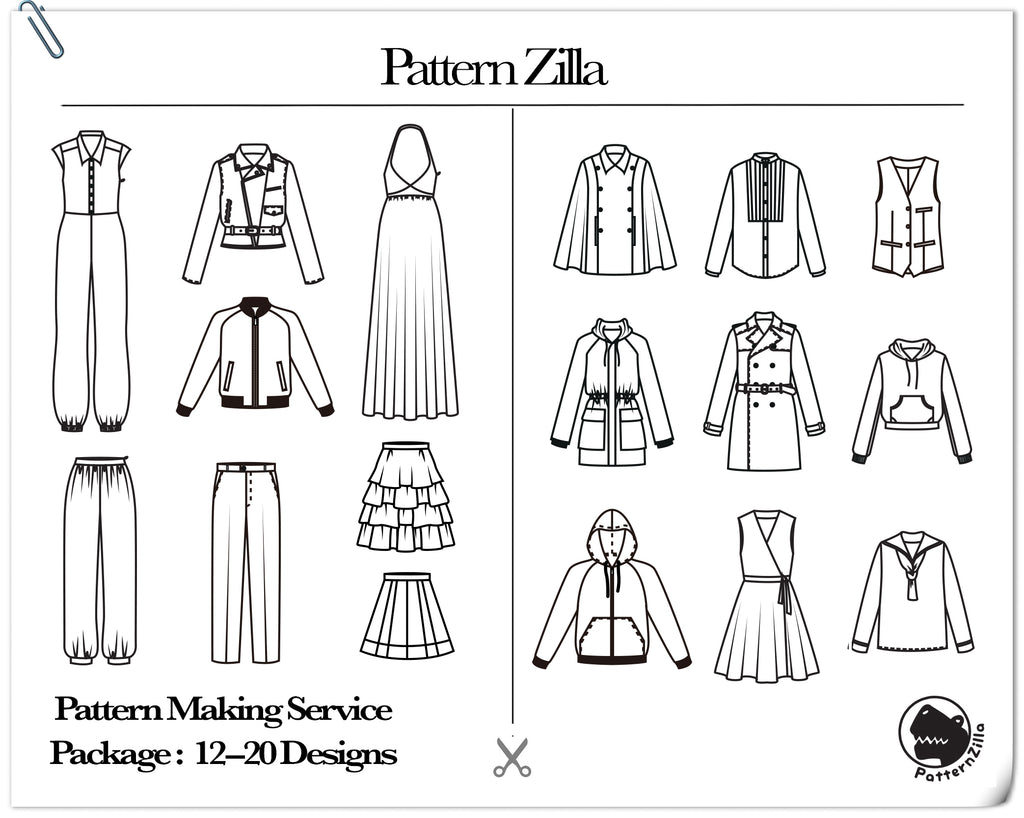 Pattern Making Service Package: 12-20 Designs