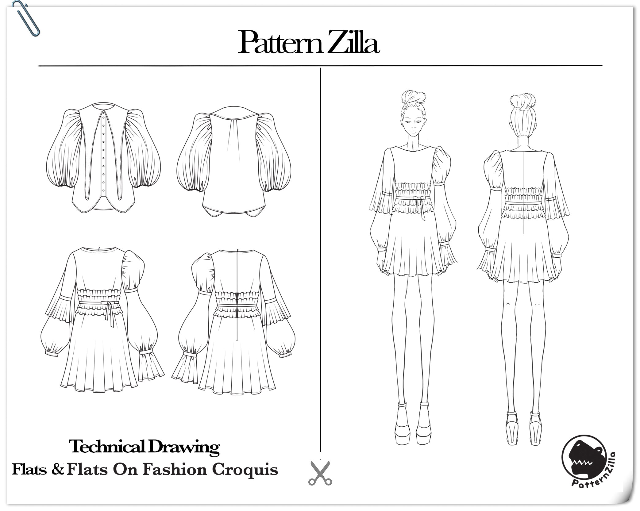 technical drawing flats fashion croquis patternzilla