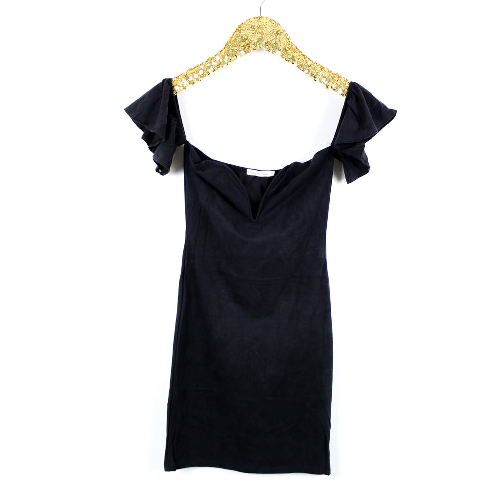 Dress - Black Off the shoulder V Wire Faux Suede Bodycon Party Dress - MBM Unlimited