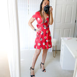 Dress - Red Floral Short Sleeve Fit and Flare Casual Sundress - MBM Unlimited