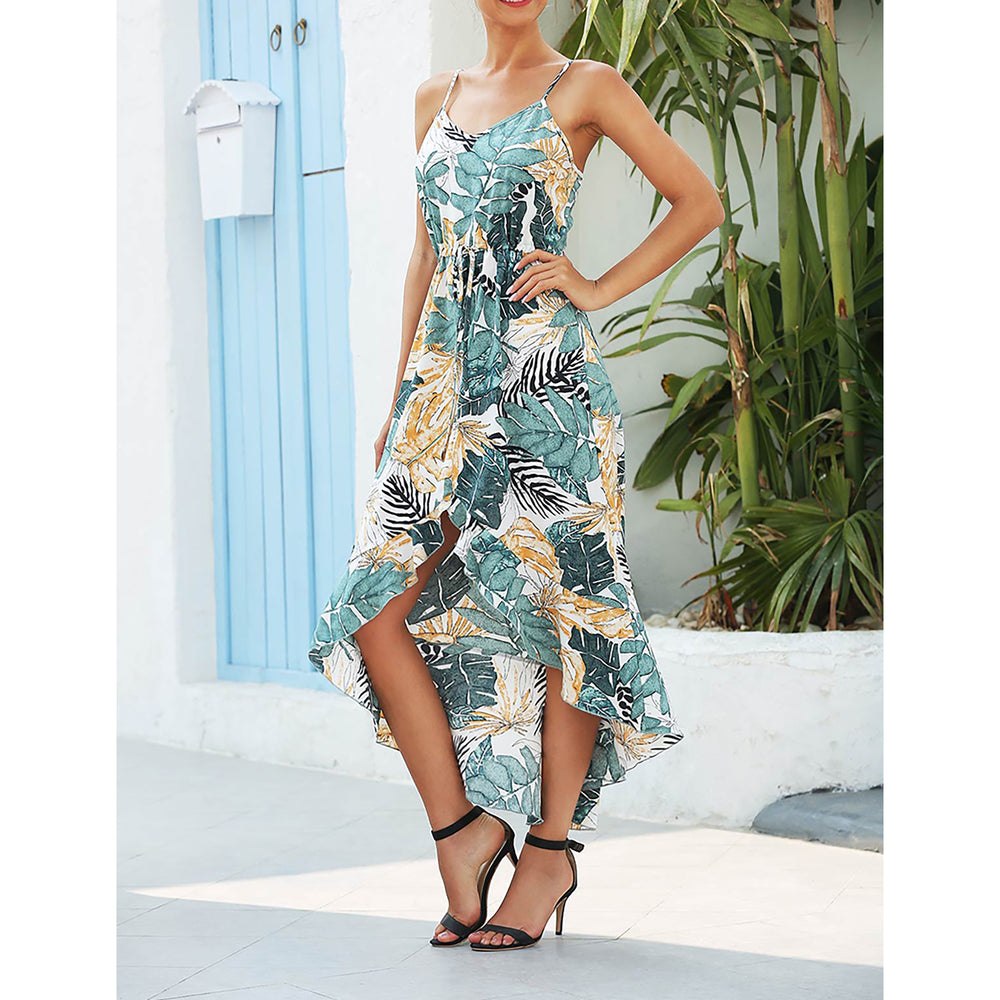 White Green Tropical Print Ruffle High Low Dress