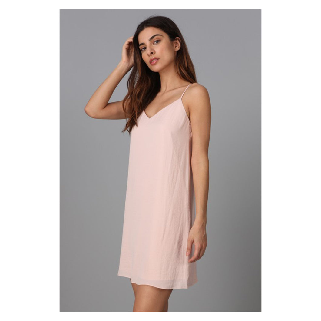 Dress - Naked Zebra Blush Pink Spaghetti Straps Cami Tie Back Dress - MBM Unlimited
