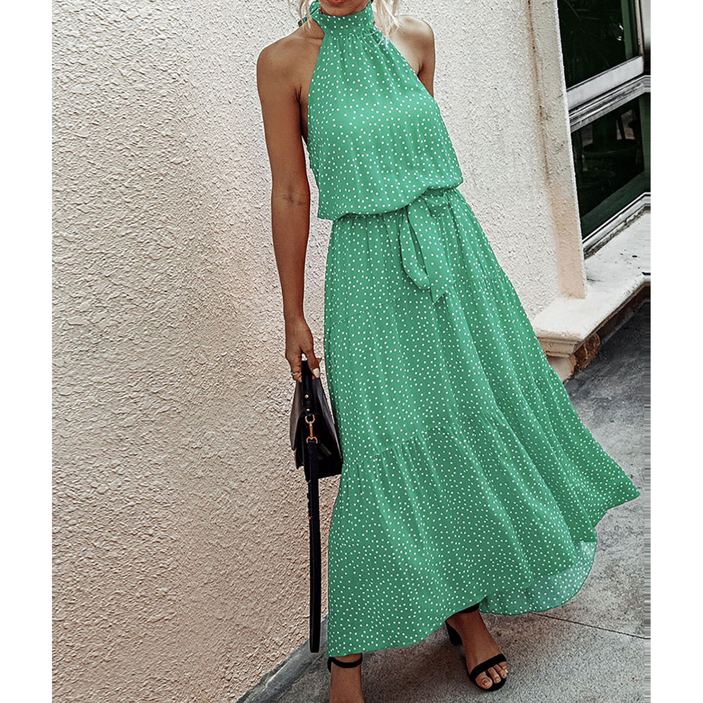 Green Polka Dot Halter Flounce Maxi Dress