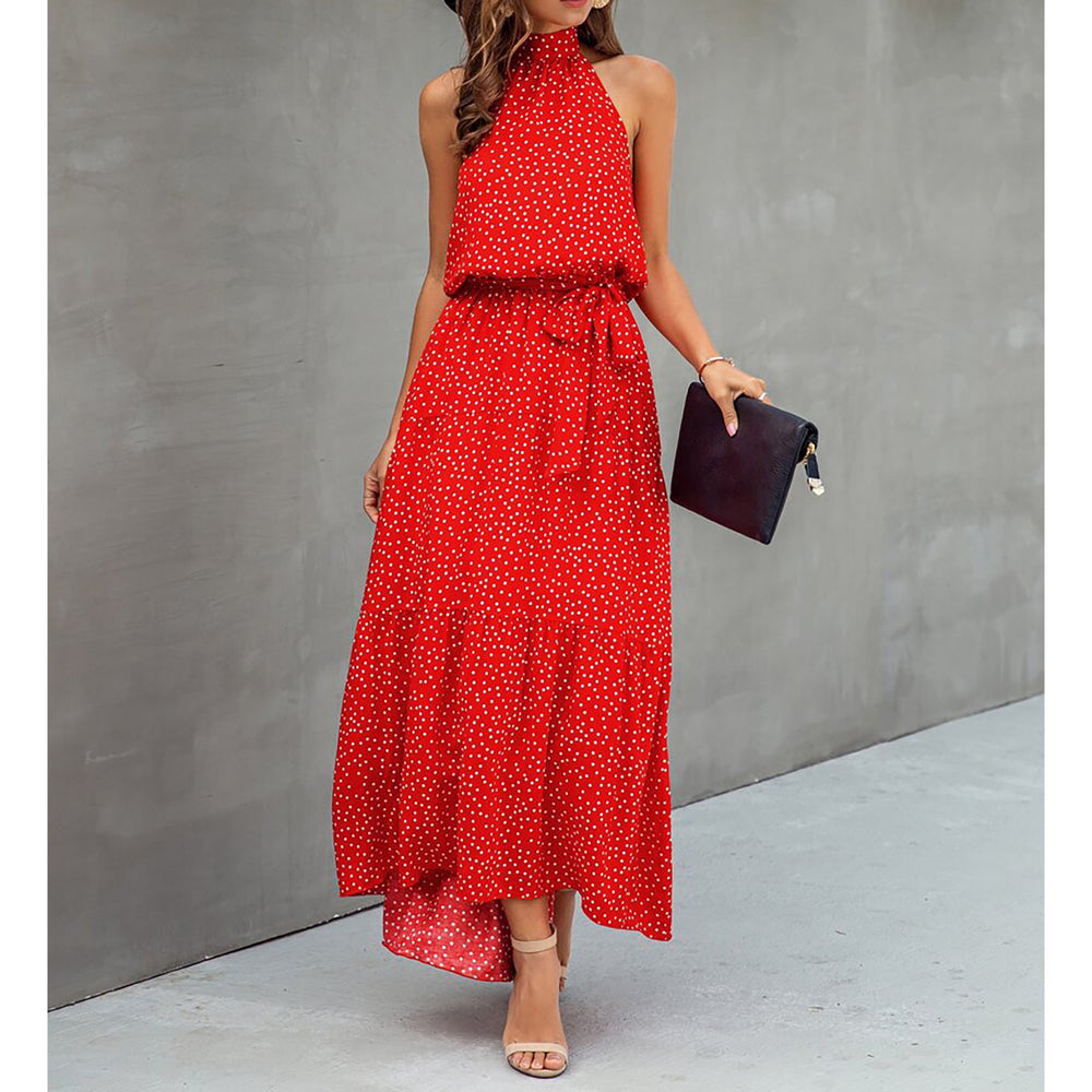 Red Polka Dot Halter Flounce Maxi Dress