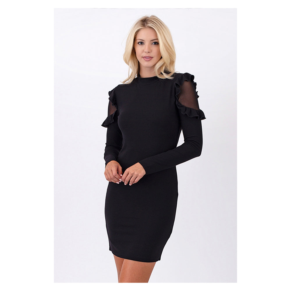 Dress - Black Mesh Long Sleeve Bodycon Ruffle Party Dress - MBM Unlimited