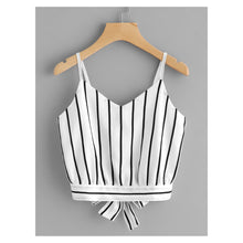 White Black Striped Back Tie Cami Crop Top