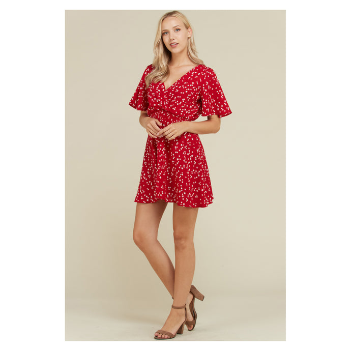 Red Star Print Flutter Sleeve Fit and Flare Casual Dress