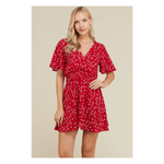 Dress - Red Star Print Flutter Sleeve Fit and Flare Casual Dress - MBM Unlimited