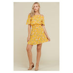 Dress - Yellow Floral Off the Shoulder Fit and Flare Casual Sundress - MBM Unlimited