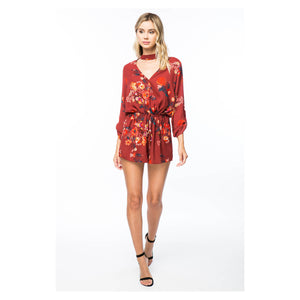 Romper - Red Floral Long Sleeve Drawstring Choker Romper - MBM Unlimited