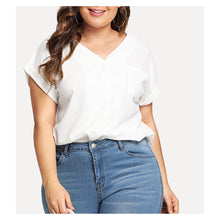 White V Neck Short Sleeve Casual Blouse
