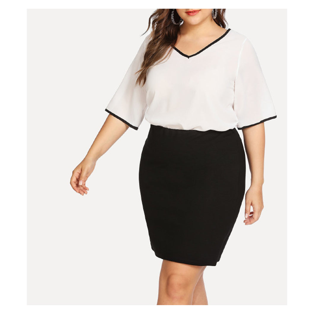 White Black V Neck Back Bow Short Sleeve Blouse