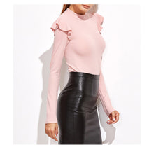 Bodysuit - Blush Pink Mock Neck Long Sleeve Ruffle Bodysuit - MBM Unlimited