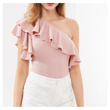 Top - Blush Pink One Shoulder Ruffle Bodysuit - MBM Unlimited