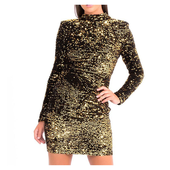 Dress - Gold Long Sleeve Bodycon Sequin Mini Dress - MBM Unlimited