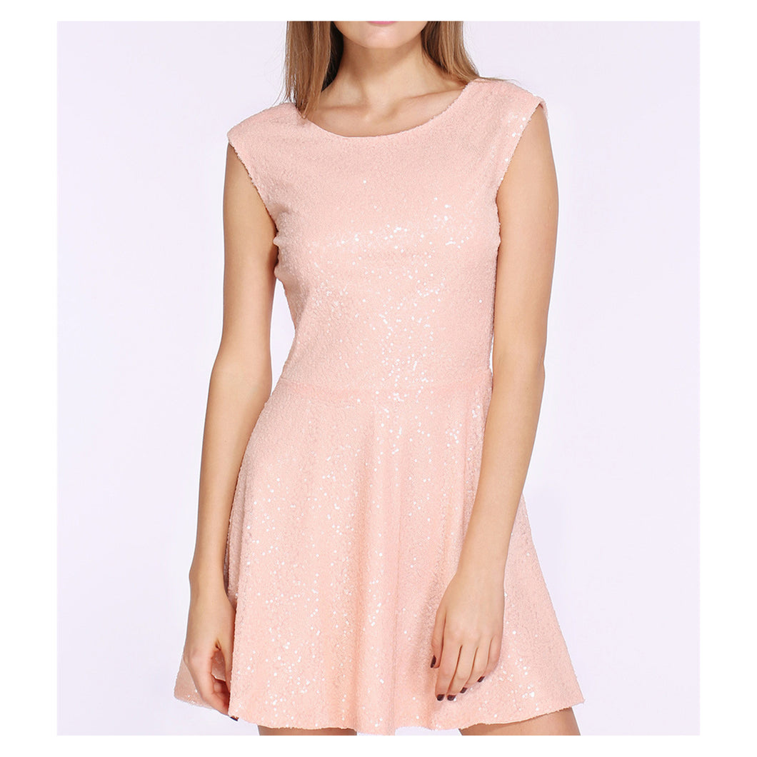 Dress - Blush Pink Sleeveless Backless Sequin Dress - MBM Unlimited
