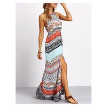 Dress - Colorful Floral Geometric Sleeveless Casual Maxi Dress - MBM Unlimited