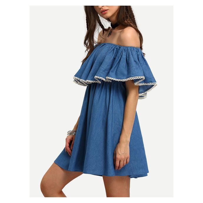 Dress - Blue Denim Off the Shoulder Ruffle Mini Dress - MBM Unlimited