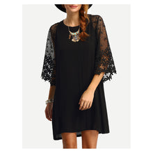 Dress - Black Crochet Lace Sleeves Shift Dress - MBM Unlimited