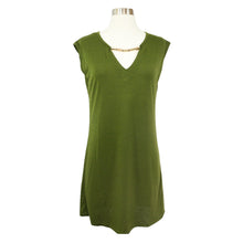 Dress - Army Green Embellished V Neck Shift Dress - MBM Unlimited