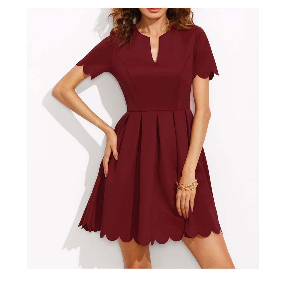 Dress - Burgundy Red V Neck Short Sleeve Fit & Flare Scallop Dress - MBM Unlimited
