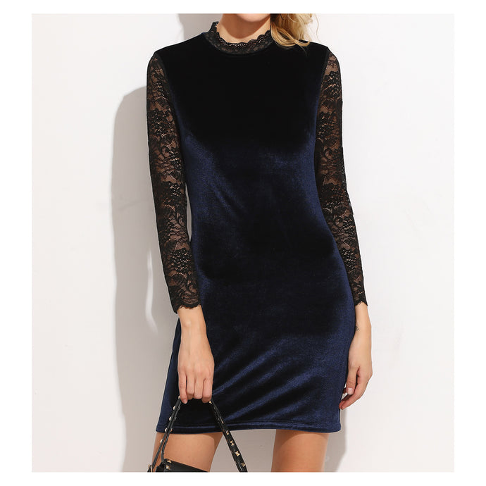Dress - Blue Black Lace Long Sleeve Bodycon Velvet Dress - MBM Unlimited