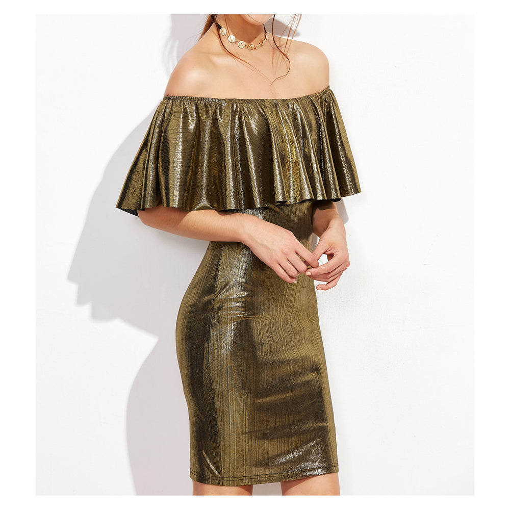 Dress - Gold Metallic Off the Shoulder Bodycon Dress - MBM Unlimited