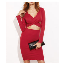 Dress - Red V Neck Long Sleeve Cut Out Scallop Bodycon Dress - MBM Unlimited