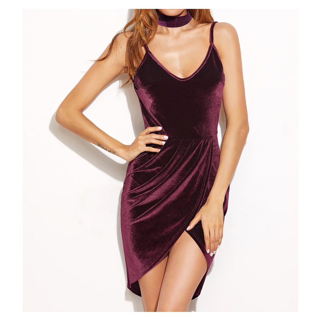 d5ad1a6211b9 Dress - Burgundy Sleeveless Bodycon Sexy Wrap Backless Cocktail Velvet Dress  - MBM Unlimited