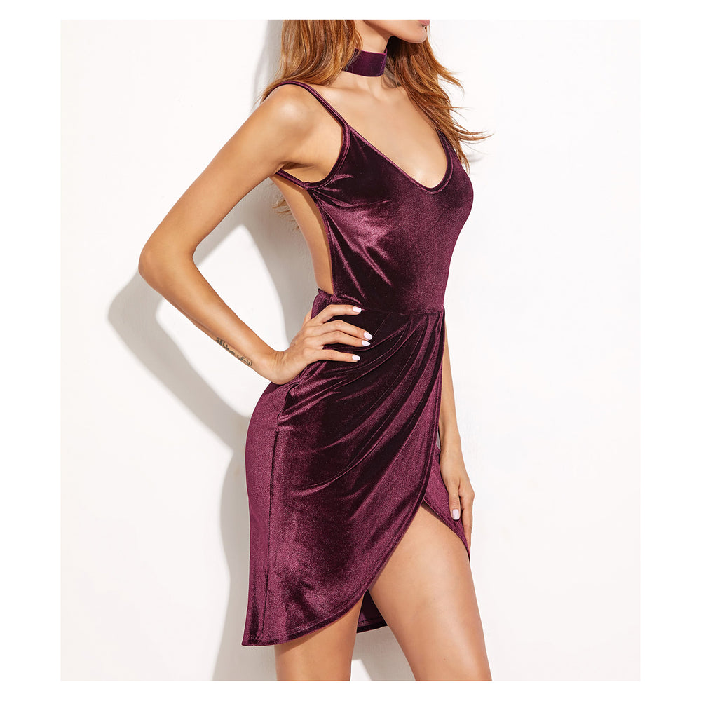 Dress - Burgundy Sleeveless Bodycon Sexy Wrap Backless Cocktail Velvet Dress - MBM Unlimited