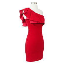 Dress - Red One Shoulder Ruffle Bodycon Dress - MBM Unlimited