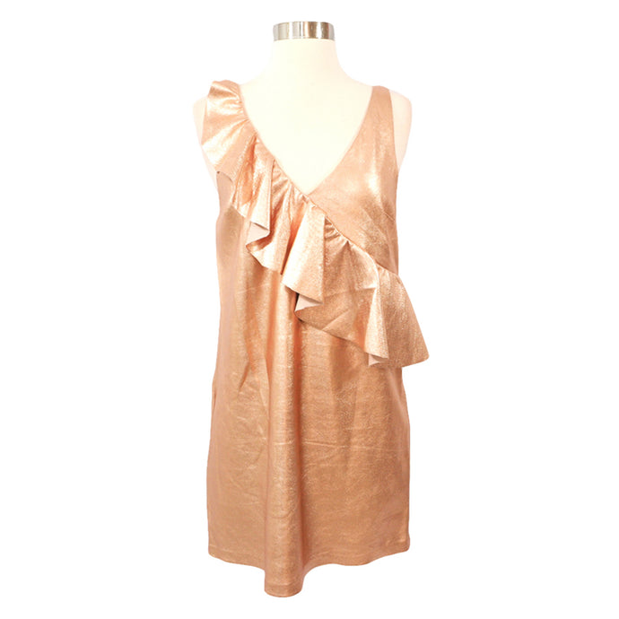 Dress - Rose Gold Metallic Ruffle Faux Suede Dress - MBM Unlimited