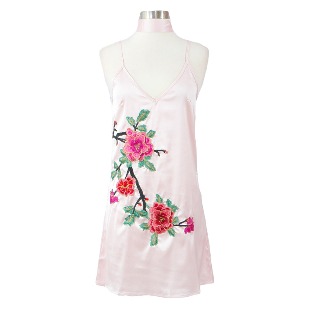 Dress - Pink Floral Embroidered Choker Cami Shift Dress - MBM Unlimited