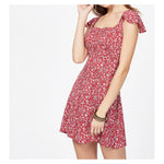 Dress - Red Floral Square Neckline Criss Cross Back Dress - MBM Unlimited