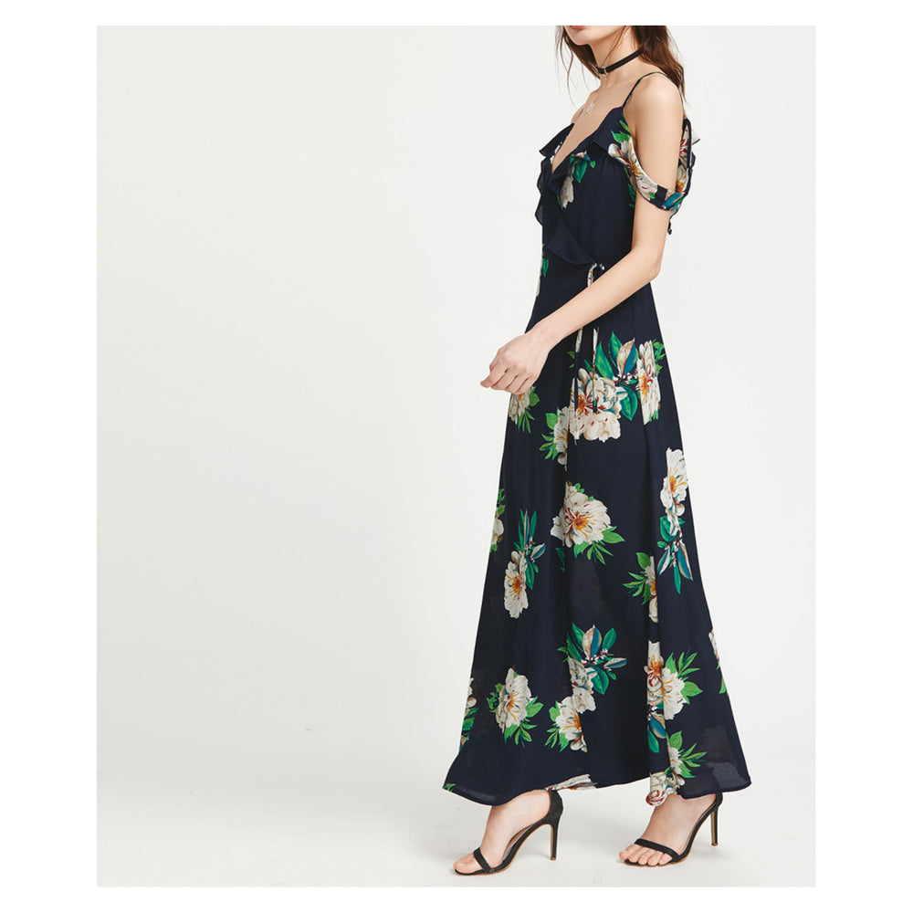 Dress - Blue Floral Cold Shoulder Ruffle Wrap Maxi Dress - MBM Unlimited
