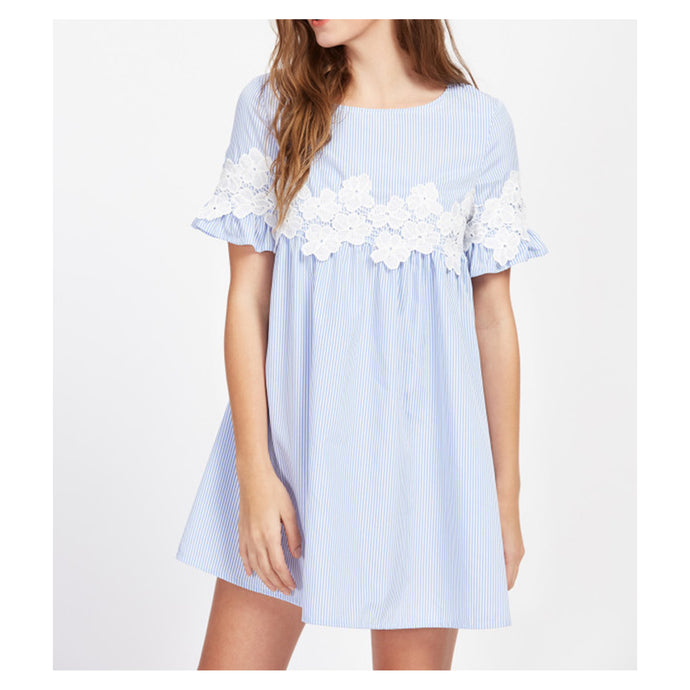 Dress - Blue Striped Floral Lace Applique Shift Dress - MBM Unlimited