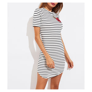 Dress - White and Black Striped Embroidered T-Shirt Dress - MBM Unlimited