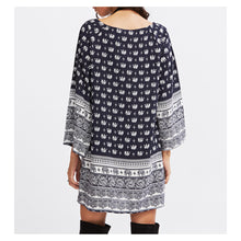 Dress - Blue White 3/4 Sleeve Elephant Print Shift Boho Dress - MBM Unlimited