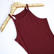 Dress - Burgundy Red Sleeveless Ribbed Side Slit Bodycon Midi Dress - MBM Unlimited
