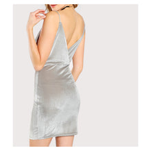 Dress - Silver Grey Deep V Surplice Sleeveless Bodycon Dress - MBM Unlimited