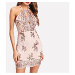 Dress - Rose Gold Halter Bodycon Cocktail Sequin Short Dress - MBM Unlimited
