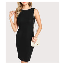 Dress - Black Sleeveless Pearl Embellished Bodycon Dress - MBM Unlimited