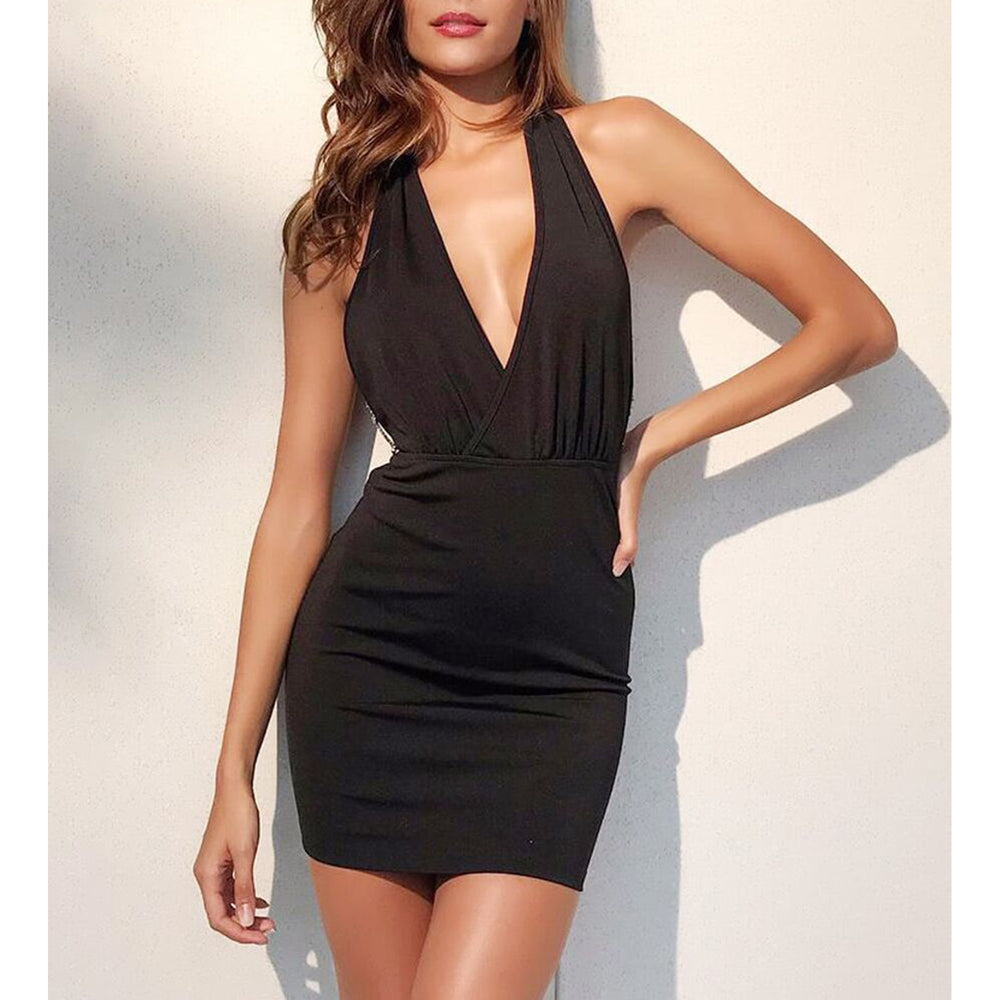 Black Backless Chain Embellished Party Dress