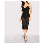 Dress - Black Rhinestones Embellished Mesh Cami Midi Dress - MBM Unlimited