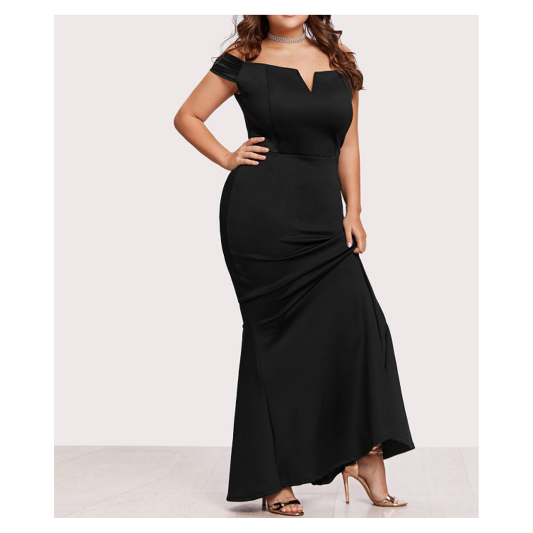 Dress - Black Off the Shoulder Elegant Mermaid Maxi Dress - MBM Unlimited