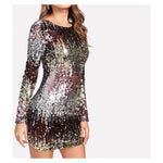 Dress - Silver Ombre Long Sleeve Iridescent Sequin Dress - MBM Unlimited
