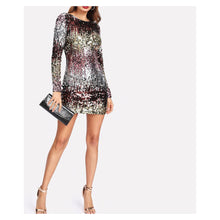 Silver Ombre Long Sleeve Iridescent Sequin Dress